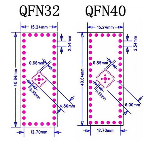 QFN32 QFN44 на DIP адаптер